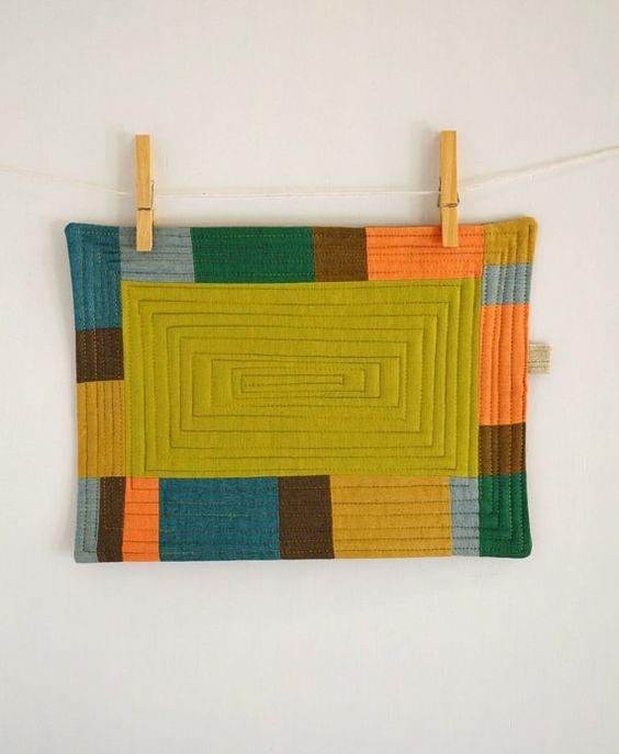 Colorful Patchwork III  Mug rug  Mini quilt  by 464Handmade