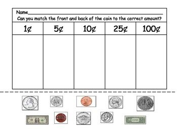 Printables Identifying Money Worksheets free worksheet to assess whether they can identify and match coins the correct value