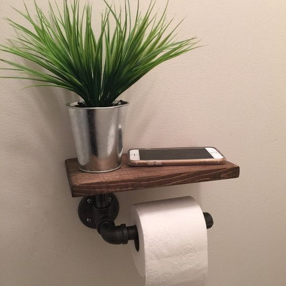 Industrial Toilet Paper Holder With Shelf Plumbing Pipe Repurposed... ($38) Liked On Polyvore