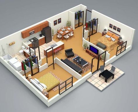 3d Floor Plan 2 Bed Small House Design 3d Home Design Small House Plans
