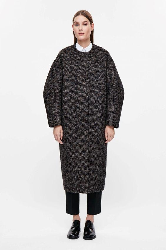 Oversized tweed coat - Brown Melange - All Articles - COS IT