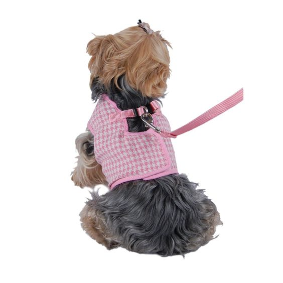 Anima Houndstooth Jersey Dog Vest Harness/Leash Set, X-Small, Pink/White * Read more at the image link.