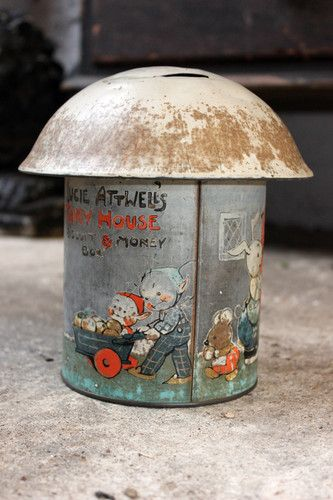 Antique c1934 Biscuit Barrel Tin Money Box 'Fairy House' by Mabel Lucie Attwell