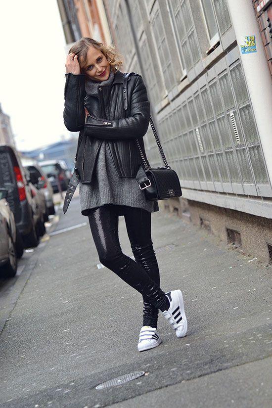 Adidas Superstar Noir Femme Portée