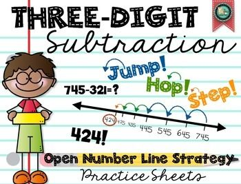 3-Digit Subtraction: Open Number Line Strategy | Common core ...