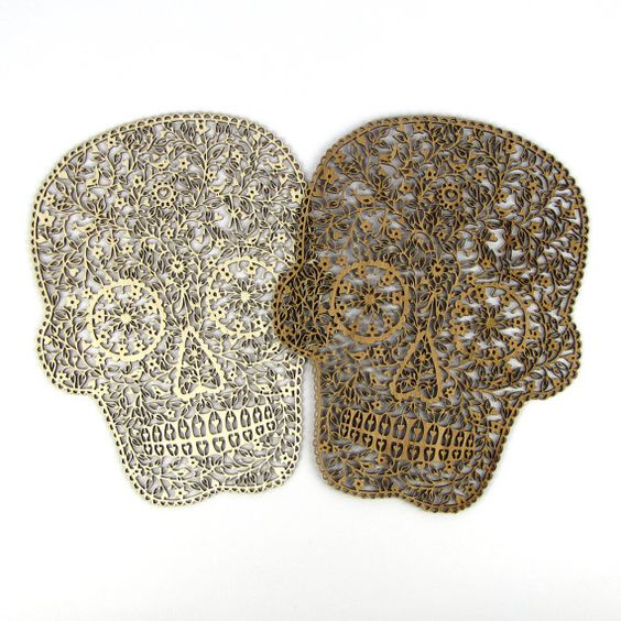 """Wood Cutout """"Flower Skull"""" by Suzy Taylor - Wood Silhouette Cutout - Great Day of the Dead and Halloween Gift"""