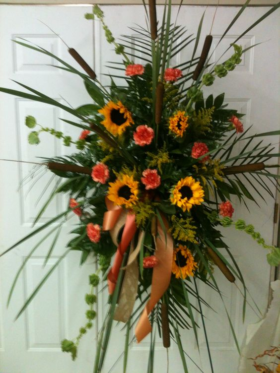 Funeral Spray With Cattails Sunflowers Orange Carnations And Bells Of Ireland Large Flower Arrangements Casket Flowers Funeral Flower Arrangements