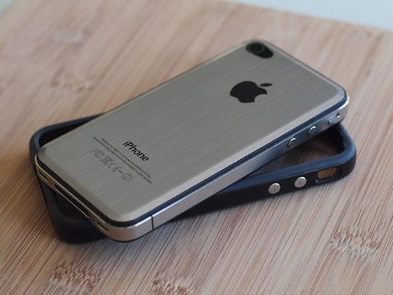 IPhone 4 – Metal Back . Warning: I guess the metal isn't too awesome for your signal.