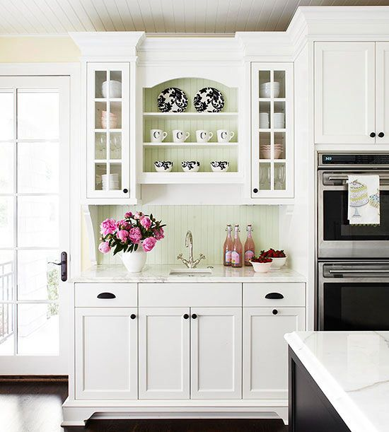 Kitchen cabinets in white cabinets white cabinets and white kitchens Kitchen backsplash ideas bhg