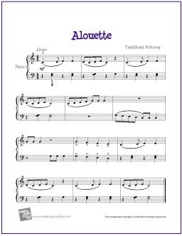 Alouette | Free Sheet Music for Easy Piano - http://makingmusicfun.net/htm/f_printit_free_printable_sheet_music/alouette-piano-sheet-music.htm