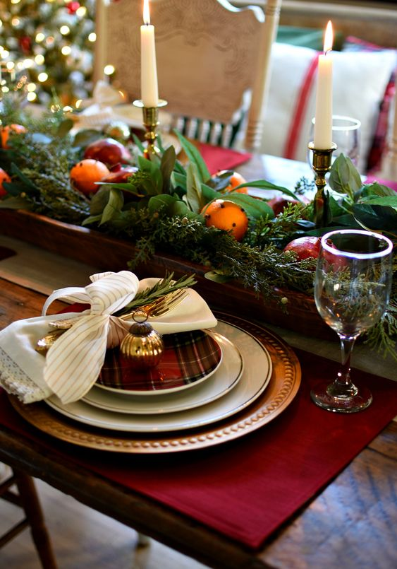 Beautiful traditional Christmas tablescape doughbowl winter cemterpiece - evergreen, oranges,....