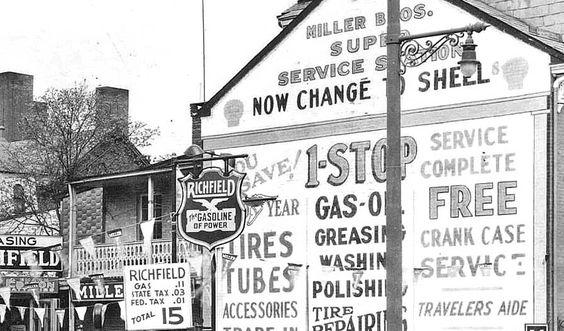 Fifteen Cent a Gallon Gasoline at Miller Bros. Super Service Station @ http://theoldmotor.com/?p=161881