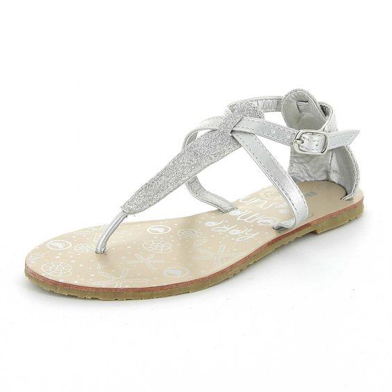 Sandales tongs argenté à paillettes Fille