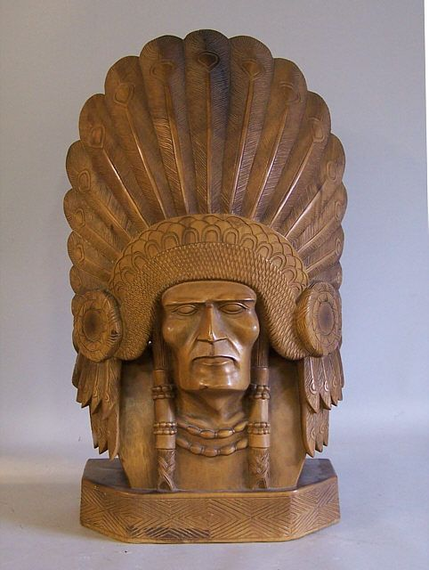 Native American Indian Chief Carved Wood Sculpture