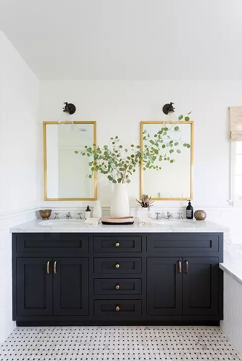 Matte Black And Gold Bathroom White Bathroom Paint White Bathroom Inspiration Black Cabinets Bathroom