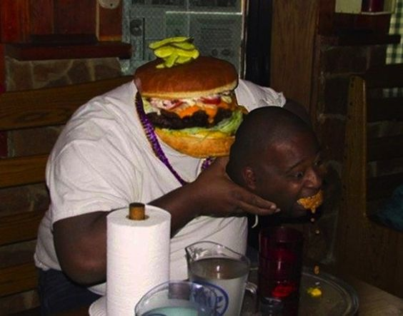 This man and a cheeseburger | 30 Most Disturbing Face Swaps Of 2012