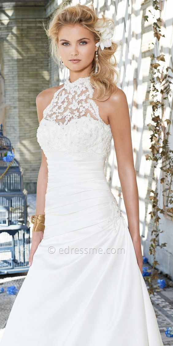 Beaded lace halter wedding dress by camille la vie for Wedding dress halter top