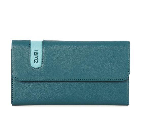 Geldbörsen :: WALLET :: W3 | ZWEI Taschen Portemonnaie :: Druckknopf :: Leder :: blau