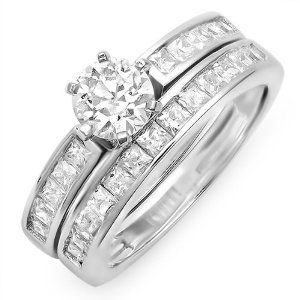 2.00 CT Sterling Silver Ladies Round and Princess Cubic Zirconia CZ Wedding Engagement Ring Set with Bridal Matching Band (Available in size 5, 6, 7, 8) size 6 --- http://www.pinterest.com.welik.es/2hk