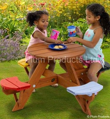 Wooden Children's Round Picnic Table & Chairs for Kids