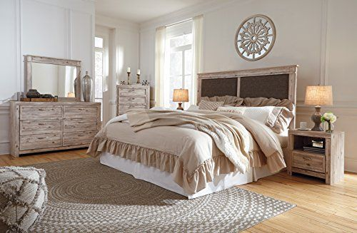 Williberry Casual Weathered Beige Color Wood Bedroom Set King Cal King Uph Panel Hdbd Dresser Mirror Night Stand Wood Bedroom Sets Bedroom Set Furniture