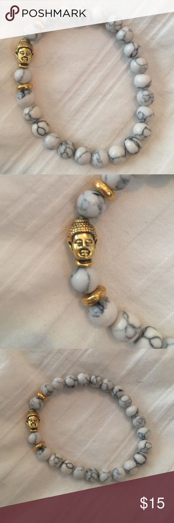 White marble beaded buddha bracelet Beautiful white marble stone beads and gold buddha charm bead Jewelry Bracelets