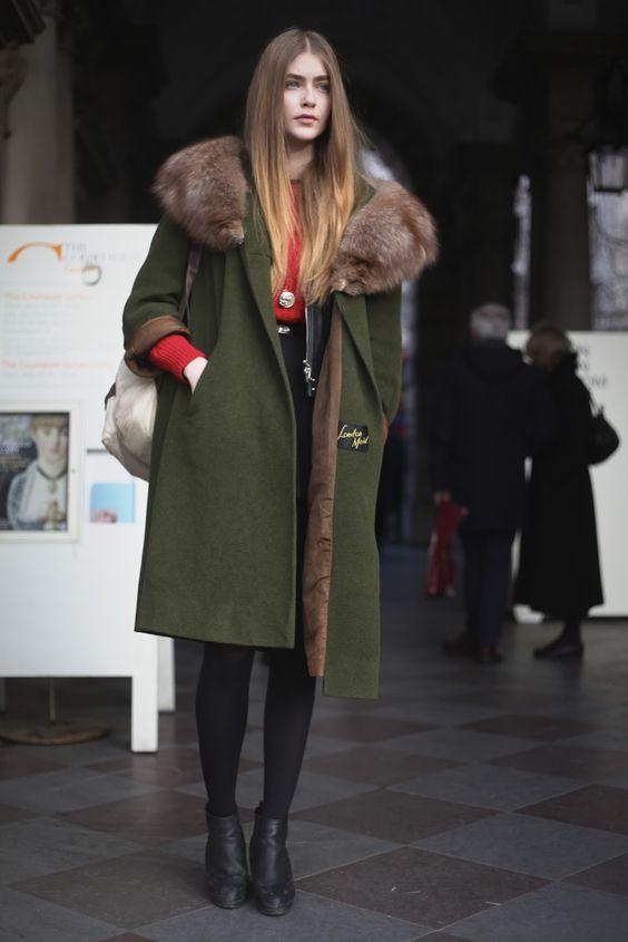 green coat: