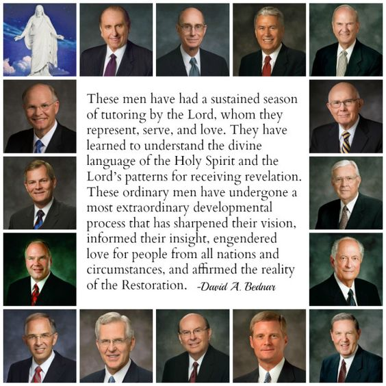 """I have observed in my Brethren at least a part of the Lord's purpose for having older men of maturity and judgment serve in senior leadership positions of the Church. These men have had a sustained season of tutoring by the Lord, whom they represent, serve, and love. They have learned to understand the divine language of the Holy Spirit and the Lord's patterns for receiving revelation. These ordinary men have undergone a most extraordinary developmental process that has sharpened their visi...:"