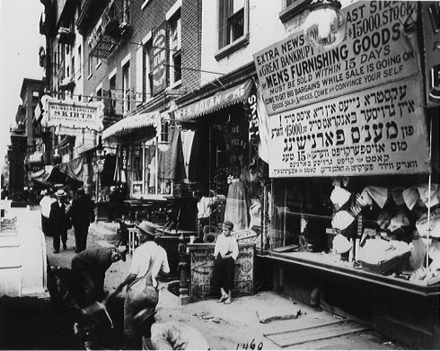 Una tienda judaica en Nueva York, 1900