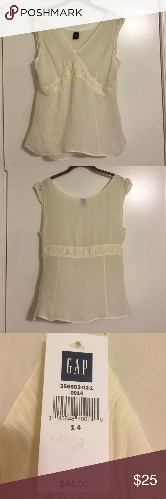 Gap cream flutter sheer blouse with tank Gap cream flutter sheer blouse with matching tank. Has a side zipper - extremely flattering - this is a reposh- unfortunately doesn't quite fit me as expected. GAP Tops Blouses