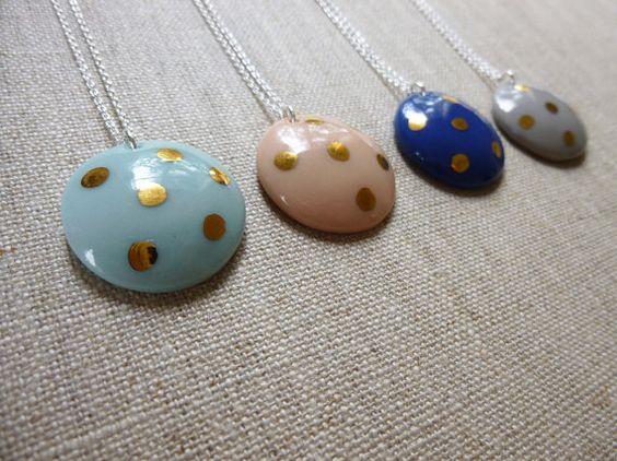 Or Polka Dot dôme porcelaine collier 45cm rond par andODesign