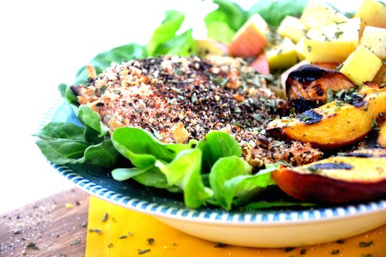 Blackened Chicken with Grilled Peaches  Created by: Amie Valpone, HHC, AADP, author of The Healthy Apple