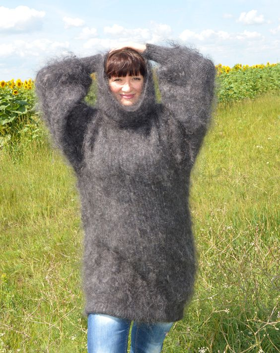 Mohair Angora Cashmere Wool Sweater Pullover goat Fur Down Fetish Sexy | eBay