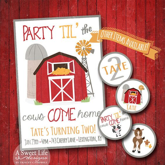 Farm Birthday Party Invitation  Party Set  by ASweetLifeDesigns