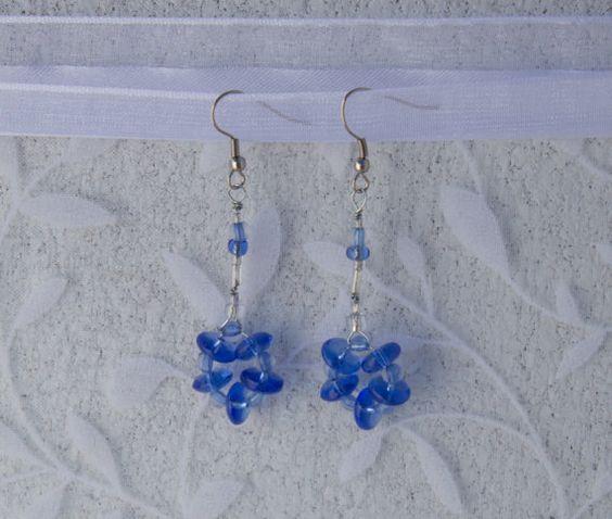 Silver and Blue Beaded Flower Earrings