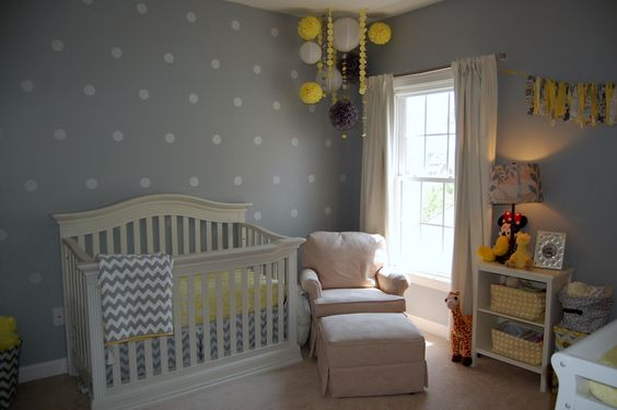 Yellow and Gray Nursery with Polka Dot Accent Wall