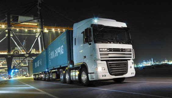 Wallpapers Wallpaper 76341 Tags Daf Semi Trailer Truck Cranes Chrome Night Tractor Container Ship Transportation Services Trucks Freight Transport