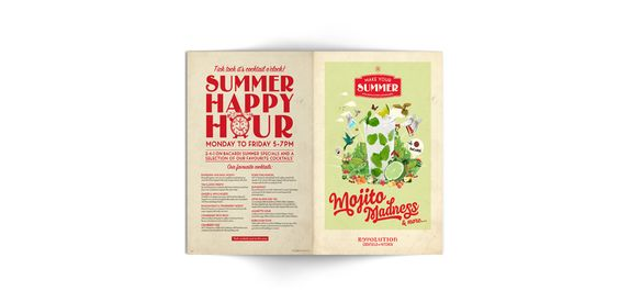 Mojito Madness, branding, illustration and menu design.