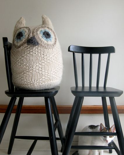 A friend recently crocheted an owl that looked like this.  This one is knit and would be such a cute baby gift!