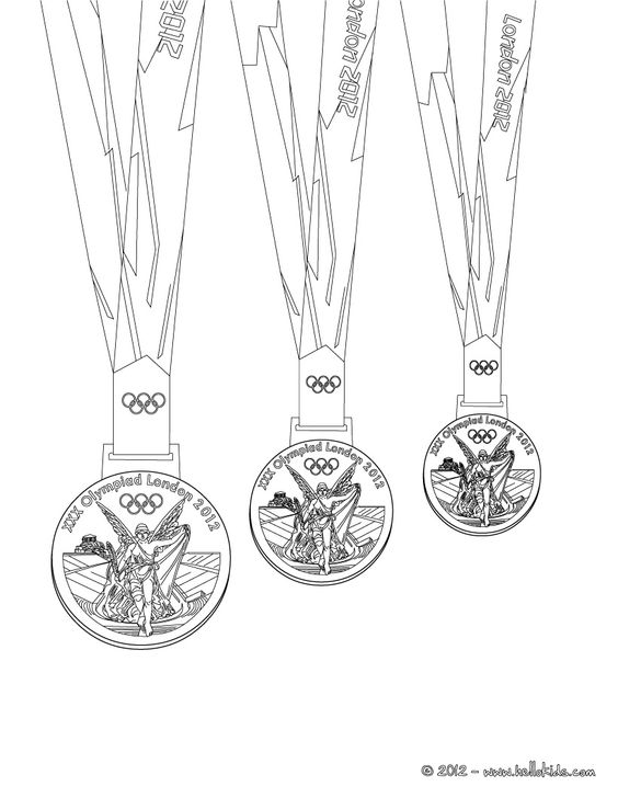 Olympic medals coloring page, London 2012.