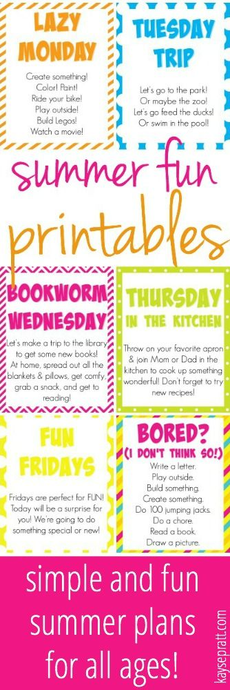 Free Printables to give your summer a little loose structure and a TON of fun! Don't go crazy with the kids home - enjoy your summer!! - from KaysePratt.com: