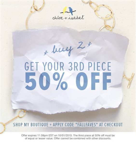 Don't forget- 50% off your third piece of jewelry, for the next three days only! Now's the perfect time to buy those pieces on your wish list, because Oct. 31st is also the deadline to help us find a cure for breast cancer- all you have to do is shop, and we'll give to the Young Survival Coalition! Grab those pieces you just can't live without right now: https://www.chloeandisabel.com/boutique/austinista #style #fashion #jewelry #pink #thinkpink #cure #foracure #breastcancer #jewels