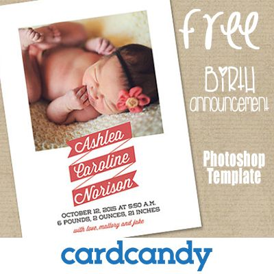 FREE Photoshop Template download to make a Birth Announcement Wow – Birth Announcement Website