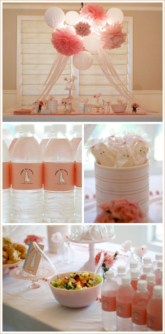 I like the top picture poof ball decorations for a girl baby shower.: Shower Ideas, Bunny Baby Shower, Baby Girl, Girl Baby Shower, Girl Shower, Pom Pom, Party Ideas, Water Bottles, Baby Shower
