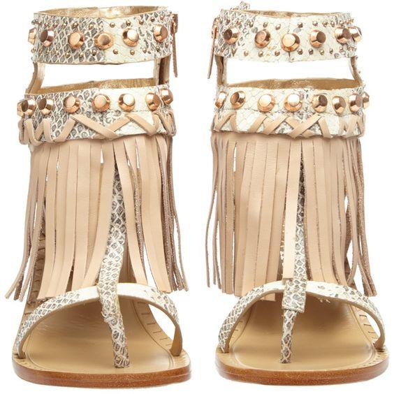 IVY KIRZHNER Hildagard Embossed Leather Fringe Sandal (€255) ❤ liked on Polyvore featuring shoes, sandals, heels, toe thongs, fringe high heel sandals, flat thong sandals, leather thong sandals e embellished sandals