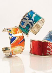 Cool Can Bracelets Craft: cut up soda cans and hold a flame near the edges so it doesn't have a sharp side!!