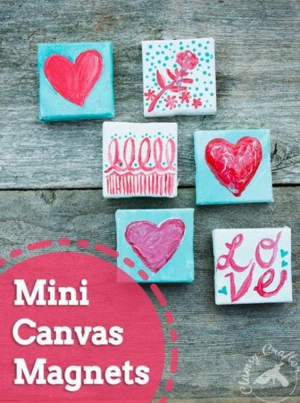 47 Ideas Painting For Kids Canvases Valentines Day Mini Canvas Valentine Crafts