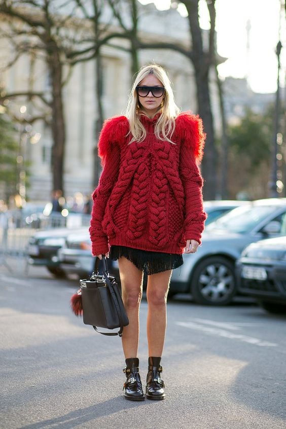 Chunky knit, Fendi bag and Balenciaga shoes