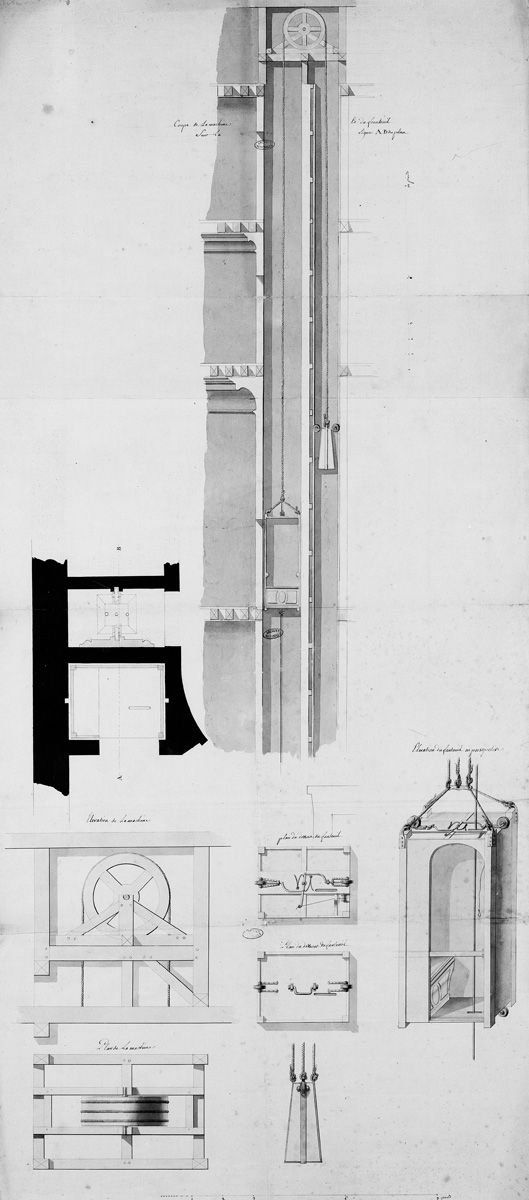 Louis xv 39 s flying chair cross sections and plans of the for Chaise volante