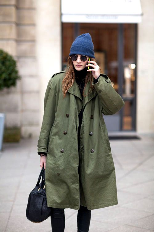 Urban Military Green #Coat & Beanie in Punk Style #fashion #trend for Fall Winter 2013